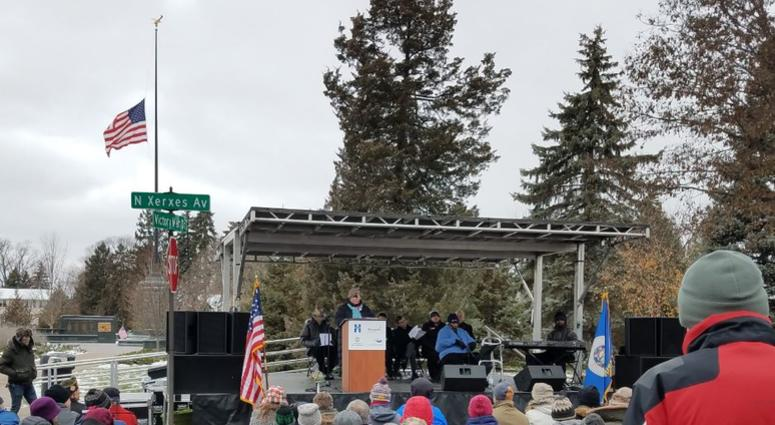 Veterans Day ceremony in at Victory Memorial Drive