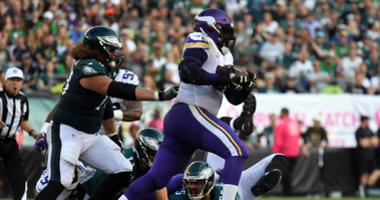 Linval Joseph rumbling down the field
