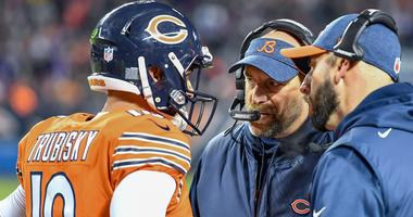 Nov 18, 2018; Chicago, IL, USA; Chicago Bears head coach Matt Nagy talks with quarterback Mitchell Trubisky (10) in the first quarter against the Minnesota Vikings at Soldier Field.