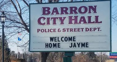 Welcome home Jayme sign in Barron