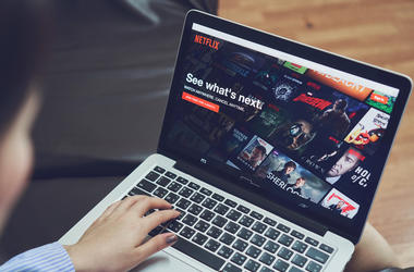 Bangkok, Thailand - January 9, 2018 : Netflix app on Laptop screen. Netflix is an international leading subscription.