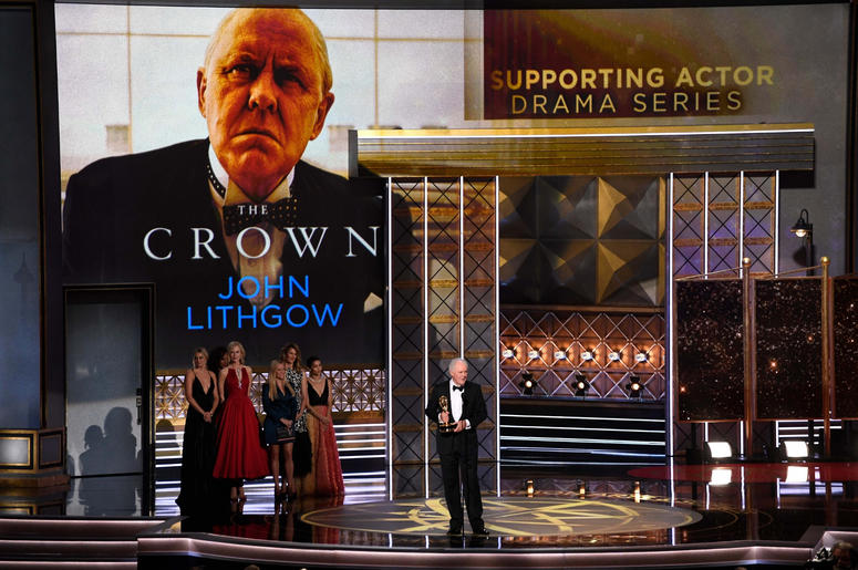 John Lithgow accepts the award for Supporting Actor In A Drama for his role in the Netflix series The Crown