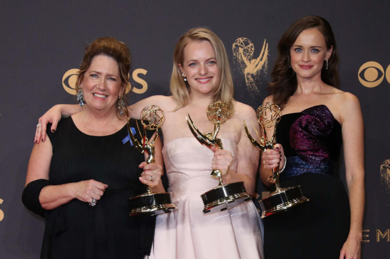 Ann Dowd , Elizabeth Moss and Alexis Bledel pose with their awards for Outstanding Drama Series for 'The Handmaid's Tale'