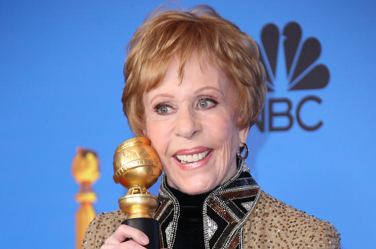 Carol Burnett poses in the press room with the inaugural Carol Burnett Award at the 76th annual Golden Globe Awards at the 76th Golden Globe Awards at the Beverly Hilton.