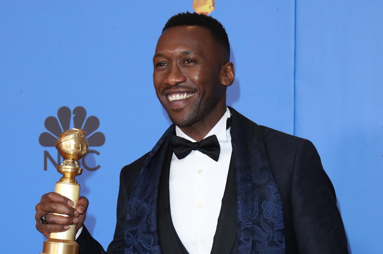 "Mahershala Ali poses in the press room with the award for best performance by an actor in a supporting role in any motion picture for ""Green Book\"" at the 76th Golden Globe Awards at the Beverly Hilton."