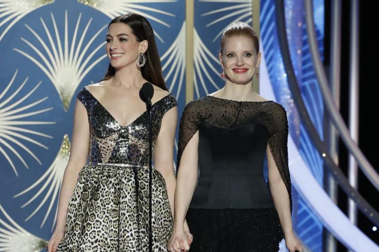 Anne Hathaway and Jessica Chastain during the 76th Golden Globe Awards at the Beverly Hilton.