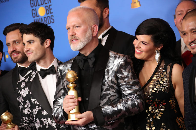 "he cast and crew of ""The Assassination of Gianni Versace: American Crime Story\"" pose in the press room with the award for best television limited series or motion picture made for television at the 76th Golden Globe Awards at the Beverly Hilton."