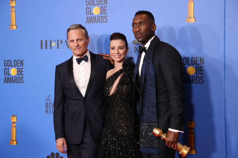 "Viggo Mortensen, from left, Linda Cardellini and Mahershala Ali pose in the press room with the award for best motion picture, musical or comedy for ""Green Book\"" at the 76th annual Golden Globe Awards atthe 76th Golden Globe Awards at the Beverly Hilton"