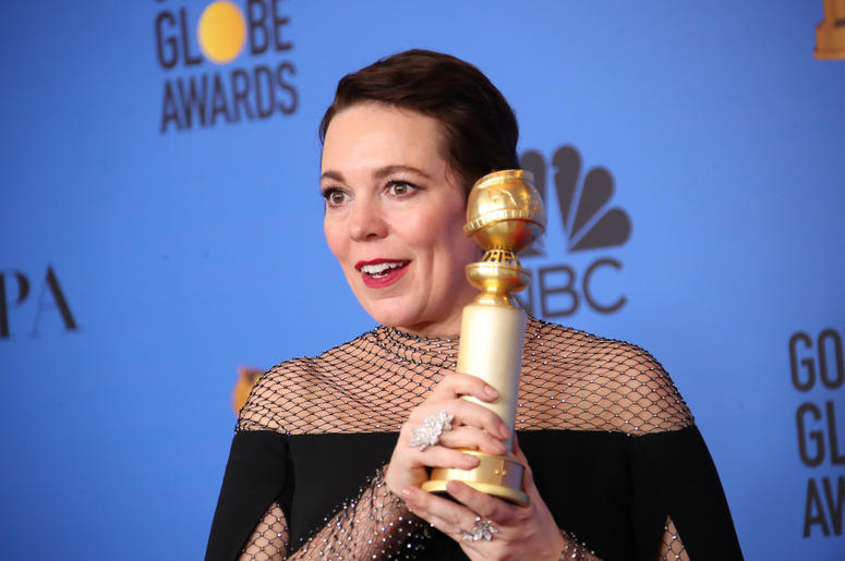 "Olivia Colman poses in the press room with the award for best performance by an actress in a motion picture, musical or comedy for ""The Favourite\"" at the 76th Golden Globe Awards at the Beverly Hilton."