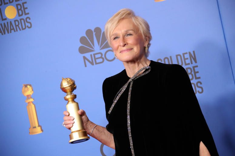 "Glenn Close poses in the press room with the award for best performance by an actress in a motion picture, drama for ""The Wife\"" at the 76th annual Golden Globe Awards at the 76th Golden Globe Awards at the Beverly Hilton."