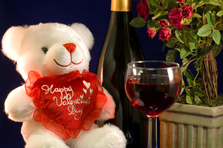 Valentine teddy bear and wine