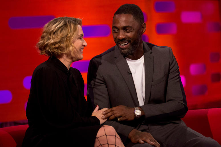 Kate Winslet and Idris Elba during filming of the Graham Norton Show at the London Studios, to be aired on BBC One on Friday evening.