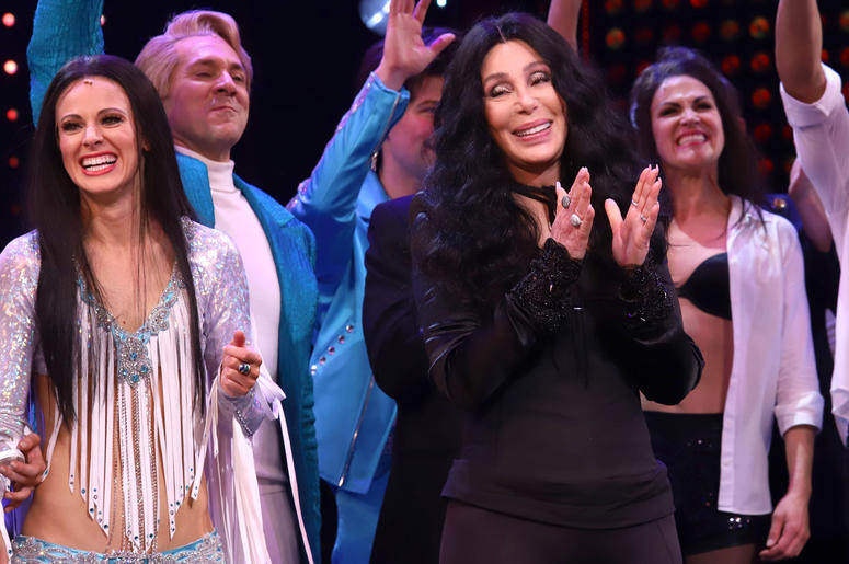 "Cher appears on stage during the opening night curtain call for ""The Cher Show"" on Broadway at the Neil Simon Theatre in New York."