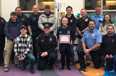 9-Year-Old Boy Battling Cancer Thrilled To Become Junior Firefighter