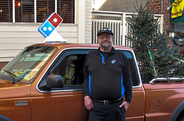 Domino's Driver Delivers Pizzas In Christmas Tree Truck
