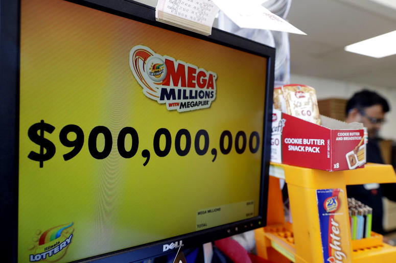 The Mega Millions jackpot is displayed at a convenience store