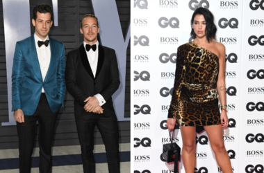 Mark Ronson, Diplo. 2018 Vanity Fair Oscar Party following the 90th Academy Awards held at the Wallis Annenberg Center for the Performing Arts. / Dua Lipa attending the GQ Men of the Year Awards 2018 at the Tate Modern, London.