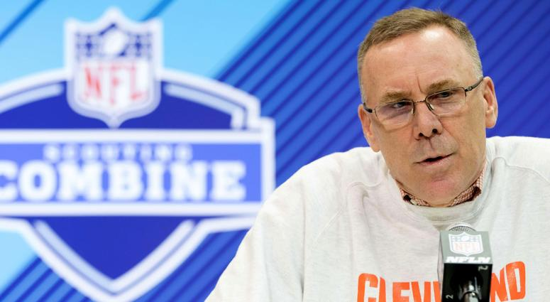 Mar 1, 2018; Indianapolis, IN, USA; Cleveland Browns general manager John Dorsey speaks to the media during the 2018 NFL Combine at the Indianapolis Convention Center. Mandatory Credit: Trevor Ruszkowski-USA TODAY Sports