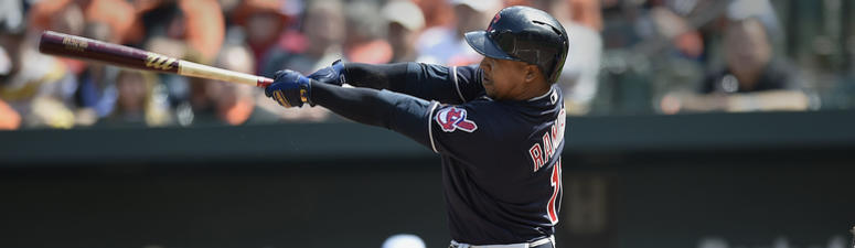 Cleveland Indians Jose Ramirez connects for a solo home run against the Baltimore Orioles in the fourth inning of baseball game, Sunday, April 22, 2018, in Baltimore.