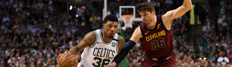 May 15, 2018; Boston, MA, USA; Boston Celtics guard Marcus Smart (36) drives against Cleveland Cavaliers guard Kyle Korver (26) during the third quarter in game two of the Eastern conference finals of the 2018 NBA Playoffs at TD Garden.