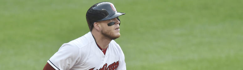 Jun 18, 2018; Cleveland, OH, USA; Cleveland Indians catcher Roberto Perez (55) hits a two-run double in the second inning against the Chicago White Sox at Progressive Field.