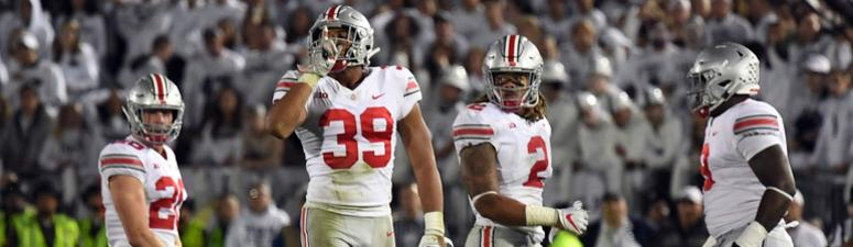 Ohio State Buckeyes linebacker Malik Harrison (39) reacts after stopping the Penn State Nittany Lions on fourth down in the fourth quarter at Beaver Stadium.