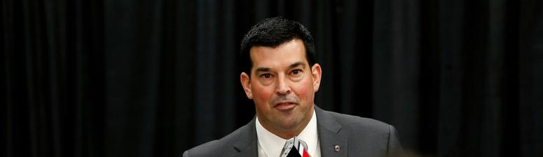Dec 4, 2018; Columbus, OH, USA; Ohio State Buckeyes new head coach Ryan Day addresses members of the media during the press conference at the Ohio State University Fawcett Center. Mandatory Credit: Joe Maiorana-USA TODAY Sports