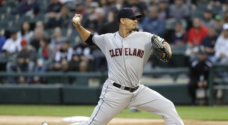Cleveland Indians starting pitcher Carlos Carrasco delivers during the first inning of a baseball game against the Chicago White Sox Monday, June 11, 2018, in Chicago.