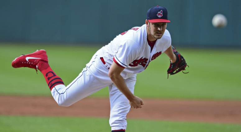Cleveland Indians starting pitcher Trevor Bauer delivers in the first inning of a baseball game against the Detroit Tigers, Saturday, June 23, 2018, in Cleveland.
