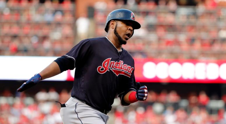 Cleveland Indians' Edwin Encarnacion celebrates after hitting a solo home run during the second inning of the team's baseball game against the St. Louis Cardinals on Wednesday, June 27, 2018, in St. Louis.
