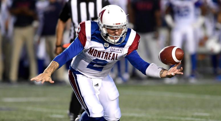Montreal Alouettes quarterback Johnny Manziel (2) loses control of the ball during the first half of a Canadian Football League game against the Ottawa Redblacks on Saturday, Aug. 11, 2018, in Ottawa, Ontario.