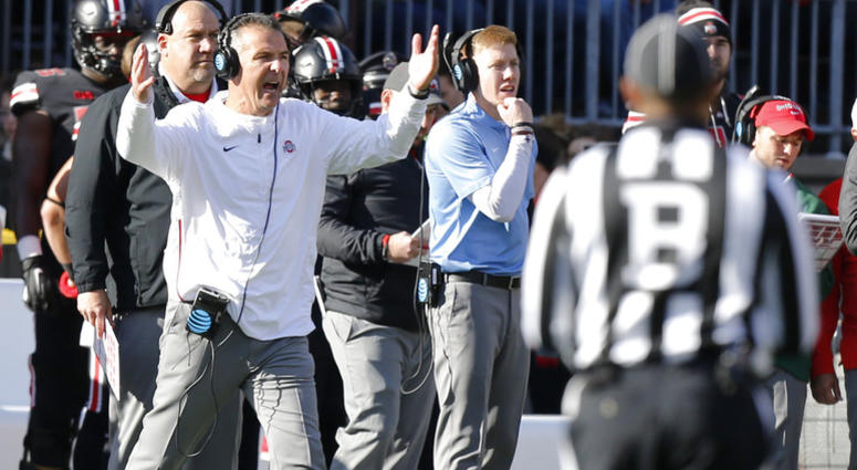 Ohio State head coach Urban Meyer shouts to his team during the second half of an NCAA college football game against Nebraska, Saturday, Nov. 3, 2018, in Columbus, Ohio. Ohio State beat Nebraska 36-31.