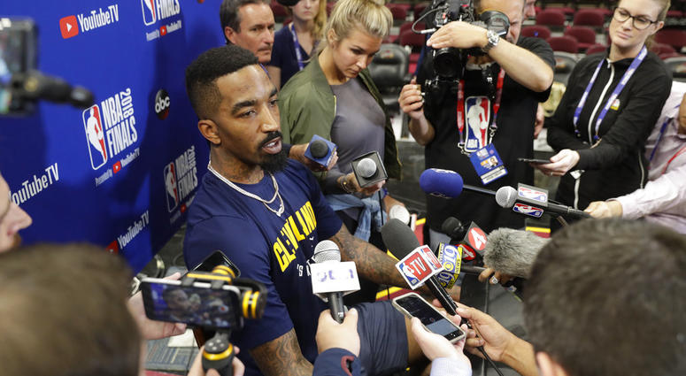 In this June 7, 2018, file photo, Cleveland Cavaliers guard JR Smith (5) speaks during an press conference following the basketball team's practice during the NBA Finals, in Cleveland. Disgruntled Cavaliers forward J.R. Smith has gotten his wish. The Cav