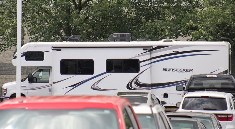 An RV used by Browns quarterbacks during training camp is parked in the player's lot in Berea