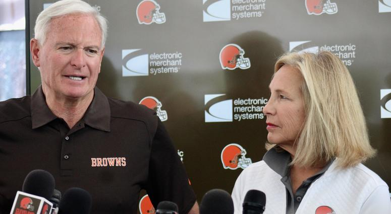 Browns owners Jimmy and Dee Haslam speak with reporters on July 28, 2018