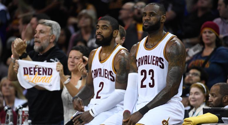 June 9, 2017; Cleveland, OH, USA; Cleveland Cavaliers guard Kyrie Irving (2) and forward LeBron James (23) during the second quarter in game four of the 2017 NBA Finals against the Golden State Warriors at Quicken Loans Arena. Mandatory Credit: Kyle Terad