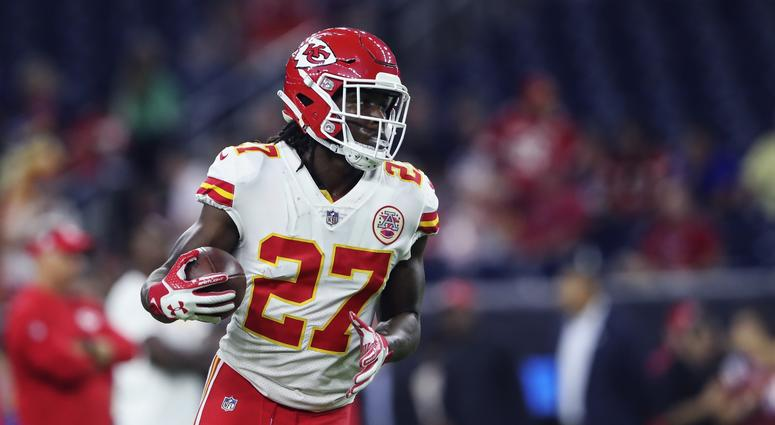 Oct 8, 2017; Houston, TX, USA; Kansas City Chiefs running back Kareem Hunt (27) before the game against the Houston Texans at NRG Stadium. Mandatory Credit: Kevin Jairaj-USA TODAY Sports
