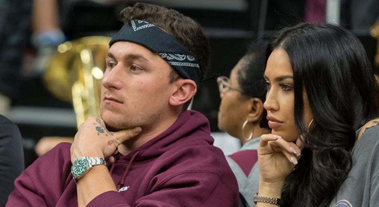 Former Texas A&M Aggies quarterback Johnny Manziel during the game between the Texas A&M Aggies and the Kentucky Wildcats at Reed Arena.