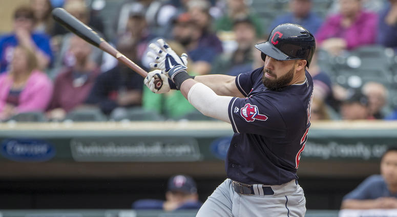 Jun 2, 2018; Minneapolis, MN, USA; Cleveland Indians second baseman Jason Kipnis (22) hits a single in the second inning against the Minnesota Twins at Target Field.