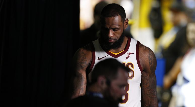 Cleveland Cavaliers forward LeBron James (23) reacts following the 122-103 loss against the Golden State Warriors in game two of the 2018 NBA Finals at Oracle Arena.