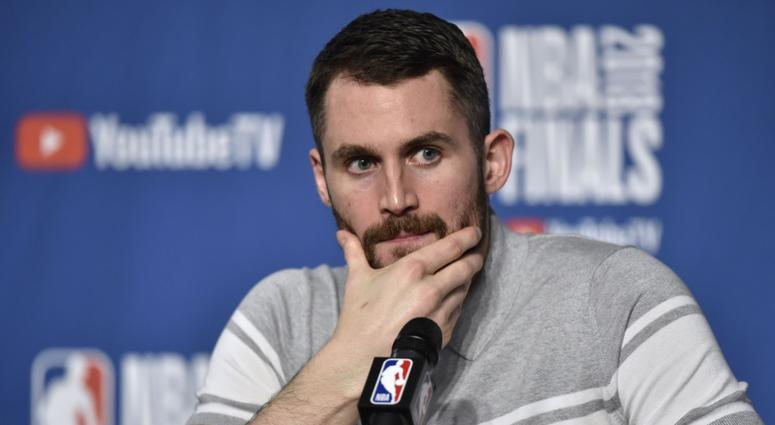 Cleveland Cavaliers center Kevin Love (0) speaks to the media after game three of the 2018 NBA Finals at Quicken Loans Arena.