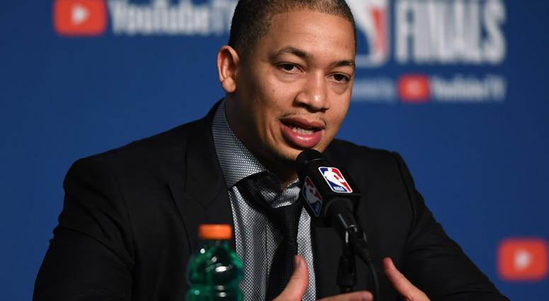 Cleveland Cavaliers head coach Tyronn Lue speaks to the media after game four of the 2018 NBA Finals against the Golden State Warriors at Quicken Loans Arena.