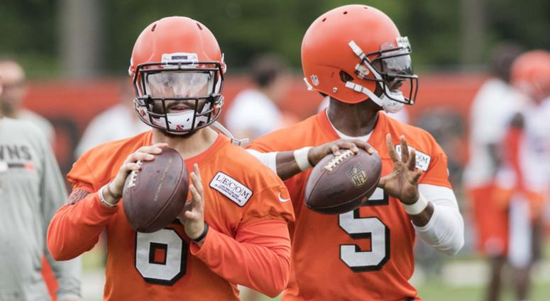 Cleveland Browns quarterback Baker Mayfield (6) and quarterback Tyrod Taylor (5) throw passes during minicamp at the Cleveland Browns training facility.