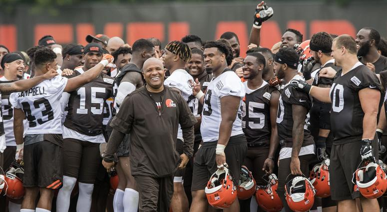 Cleveland Browns head coach Hue Jackson walks away from the team after the completion of minicamp at the Cleveland Browns training facility.