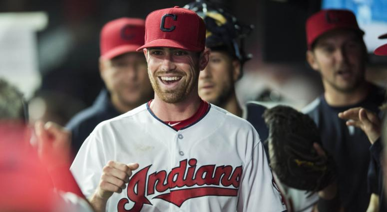 Cleveland Indians starting pitcher Shane Bieber (57) celebrates after the Indians turned a double play to end the sixth inning against the Detroit Tigers at Progressive Field.