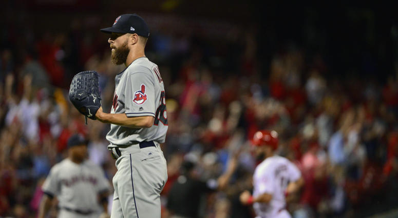 Jun 26, 2018; St. Louis, MO, USA; Cleveland Indians starting pitcher Corey Kluber (28) looks on after giving up a three run home run to St. Louis Cardinals first baseman Jose Martinez (not pictured) during the second inning at Busch Stadium.