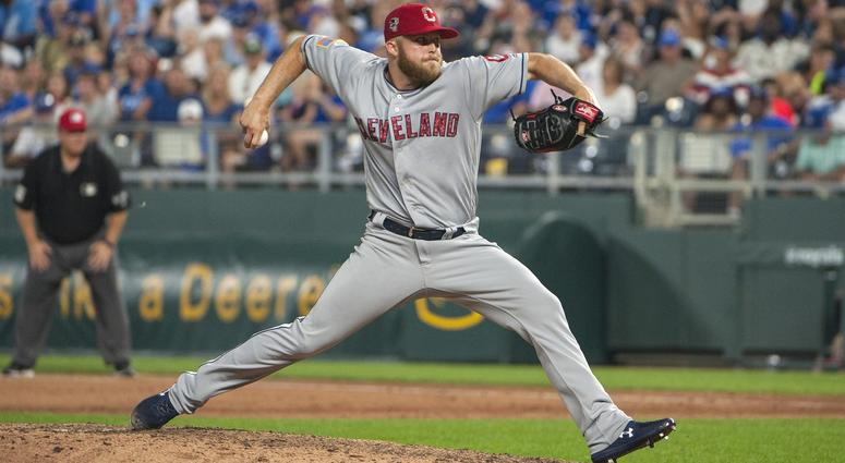 Jul 4, 2018; Kansas City, MO, USA; Cleveland Indians pitcher Cody Allen (37) throws a pitch in the ninth inning against the Kansas City Royals to become the closing pitcher with the most saves for the Cleveland Indians at Kauffman Stadium.