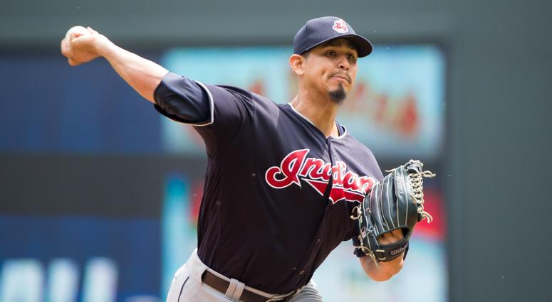 Aug 1, 2018; Minneapolis, MN, USA; Cleveland Indians starting pitcher Carlos Carrasco (59) pitches in the fifth inning against Minnesota Twins at Target Field.