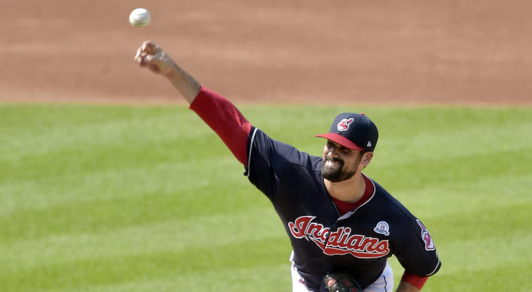 Aug 18, 2018; Cleveland, OH, USA; Cleveland Indians starting pitcher Adam Plutko (45) delivers in the first inning against the Baltimore Orioles at Progressive Field.