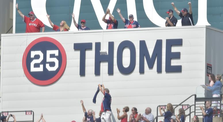 Aug 18, 2018; Cleveland, OH, USA; Fans cheer as the Cleveland Indians retired the uniform number of former Indians Jim Thome during a ceremony at Progressive Field. Mandatory Credit: David Richard-USA TODAY Sports